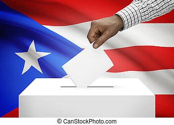 caja, nacional, -, rico, bandera, plano de fondo, puerto,...