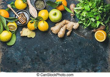 caja, natural, ingredientes, bebida, caliente, boosting, elaboración, immunity