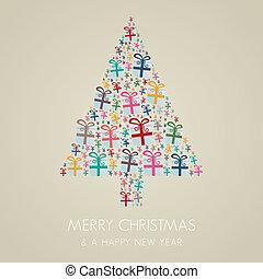 caja obsequio, colorido, árbol de navidad