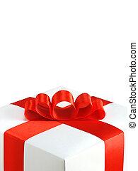 caja obsequio, con, arco, aislado, blanco, plano de fondo
