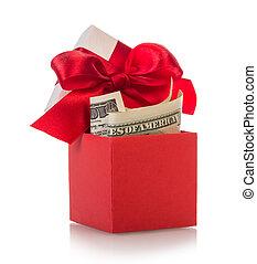 caja obsequio, con, billetes de banco