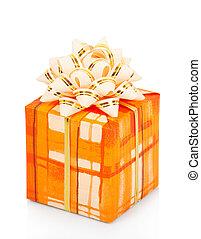caja obsequio, con, cinta de oro