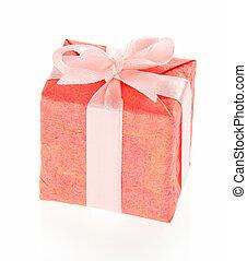 caja obsequio, con, rosa, arco