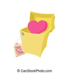 Caricatura niña con regalo gigante