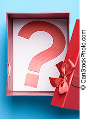 caja obsequio, con, un, signo de interrogación, símbolo