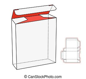 caja, opened., paquete, products., realista, vector, recorte...