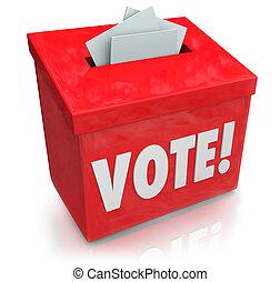 caja, palabra, democracia, elección, voto, papeleta