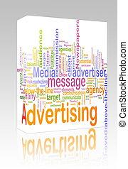 caja, palabra, publicidad, nube, paquete