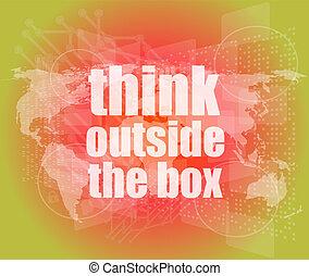 caja, pantalla, exterior, palabras, digital, tacto, pensar
