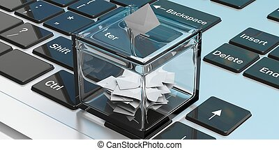 caja, papeleta, laptop., ilustración, 3d
