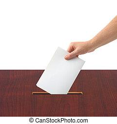 caja, papeleta, mano