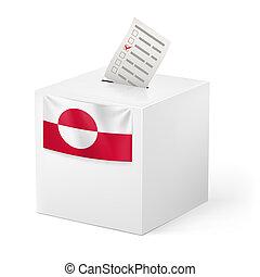 caja, paper., groenlandia, papeleta, votación
