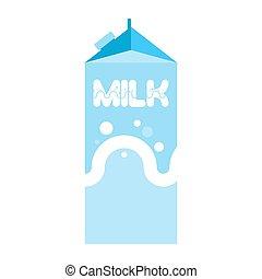 caja, paquete, isolated., bebida, cartón, leche