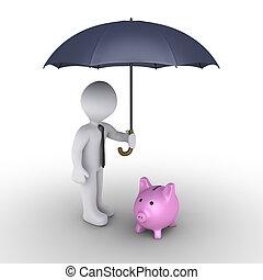 caja, paraguas, dinero, cerdo, persona, proteger
