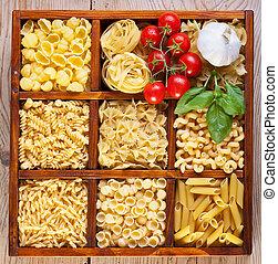 caja, pastas, compartmented, variedad