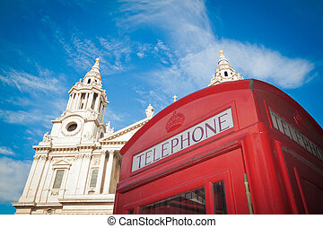 caja, pauls, c/, teléfono, londres, rojo