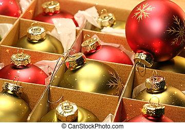 caja, pelotas, papelde envolver, navidad