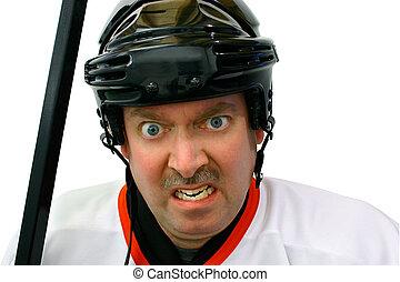 caja, pena, jugador del hockey