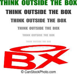 caja, pensar, afuera