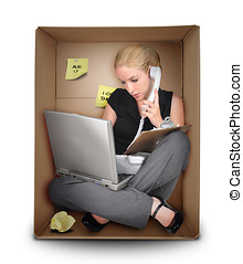 caja, pequeño, mujer, oficina, empresa / negocio