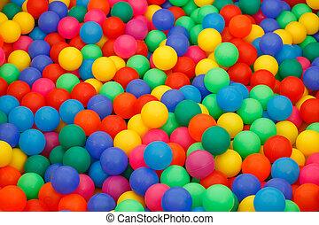 caja, pequeño, pelotas, coloreado, llenado
