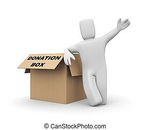 caja, persona, donación