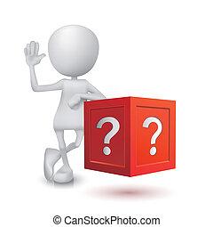 caja, persona, pregunta, 3d
