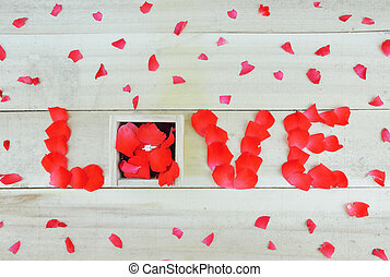 caja, piedra, amor, rosa, escrito, pétalos, sola palabra, ...