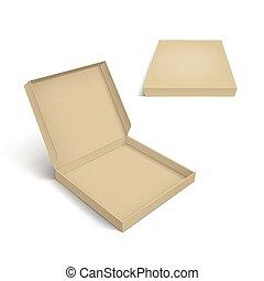 caja pizza, empaquetado, plantilla, aislado, blanco, plano...