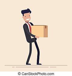 caja, plano, concepto, luz, o, joven, aislado, workplace., fondo., director, vector, mudanza, cartón, hombre de negocios, nuevo, illusration, caricatura, hands.