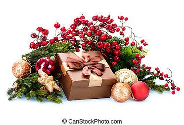 caja, plano de fondo, regalo, aislado, decoración, decoraciones, blanco, feriado, navidad