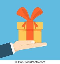 caja, plano, el suyo, hombre de negocios, regalo, mano., o, arco, propone, director, vector, toma, birthday., feriado, vendedor, illustration.