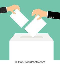 caja, plano, estilo, concepto, -, mano, papel, poniendo, votación, papeleta
