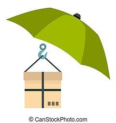 caja, plano, estilo, paraguas, icono