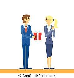 caja, plano, mujer, regalo, empresa / negocio, hombre de...