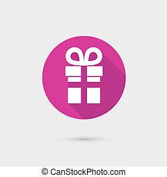 caja, plano, regalo, tela, móvil, vector, diseño, apps., presente, icono