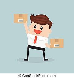 caja, plano, vector., diseño, tenencia, hombre de negocios