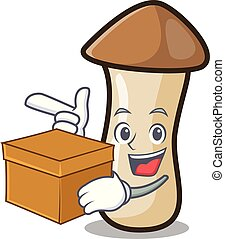 caja, pleurotus, hongo, carácter, erynggi, caricatura