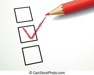 caja, pluma que marca, rojo, cheque