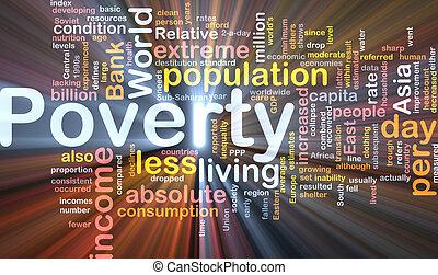 caja, pobreza, palabra, nube, paquete
