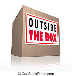 caja, poco convencional, pensamiento, creativo, exterior, innovador