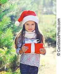caja, poco, regalo, santa, niño, niña, sombrero, navidad, rojo