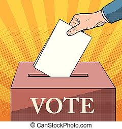 caja, política, votante, papeleta, elecciones