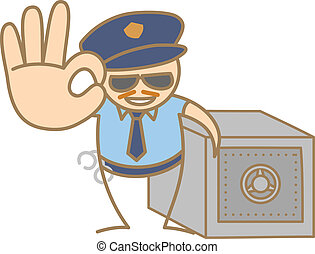 caja, policía, dinero, carácter, proteger, caricatura, hombre