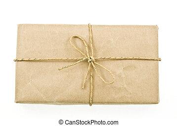 caja, poste, cartón, paquete
