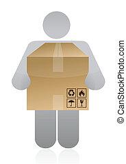 caja, proceso de llevar, icono
