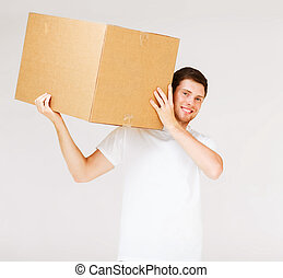 caja, proceso de llevar, sonriente, cartón, hombre