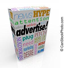 caja, producto, mercadotecnia, venta, palabras, anunciar