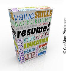 caja, producto, palabra, candidato, resumen, experiencia, ...