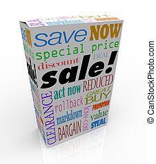 caja, producto, paquete, dinero, venta, descuento, palabras, excepto